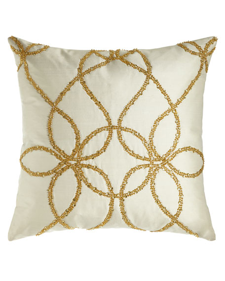 """Lili Alessandra Ivory Silk Pillow with Gold Beading, 22""""Sq."""