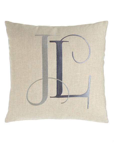 "Tangier Pillow with Monogram, 16""Sq."