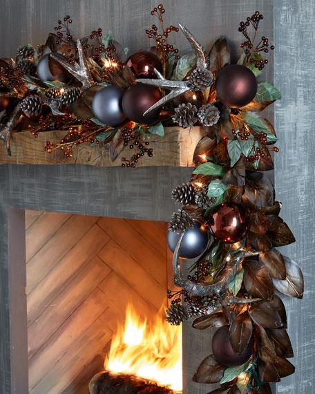 Pewter bronze pre lit christmas garland neiman marcus