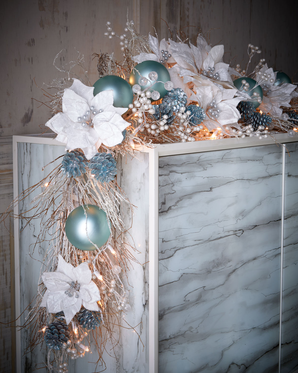 Ice Blue & Silver Pre-Lit 6' Christmas Garland | Neiman Marcus