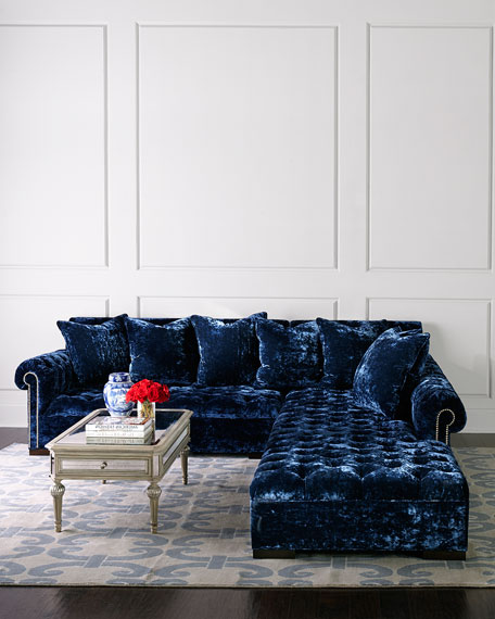 """Divine Crushed Velvet Right Chaise Sectional 119"""""""