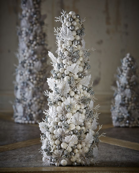 "Salzburg Creations Burgundy And Rose Gold Fireworks: Salzburg Creations White & Silver Fireworks 18"" Cone Tree"