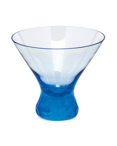 Moser Aquamarine Pebbles Stemless Martini
