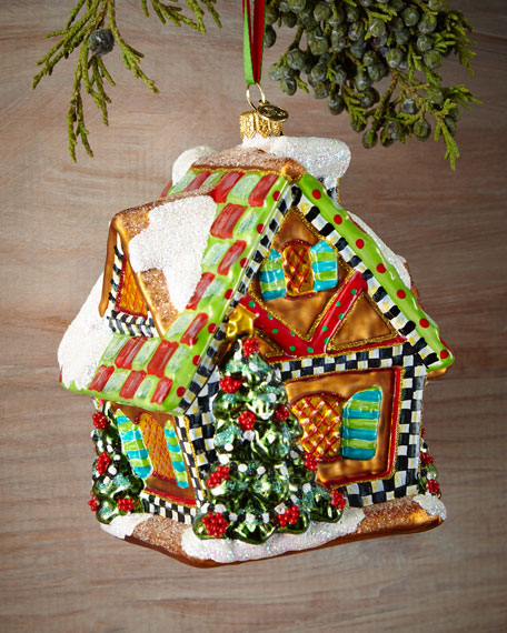 MacKenzie-Childs Gingerbread House Christmas Ornament ...