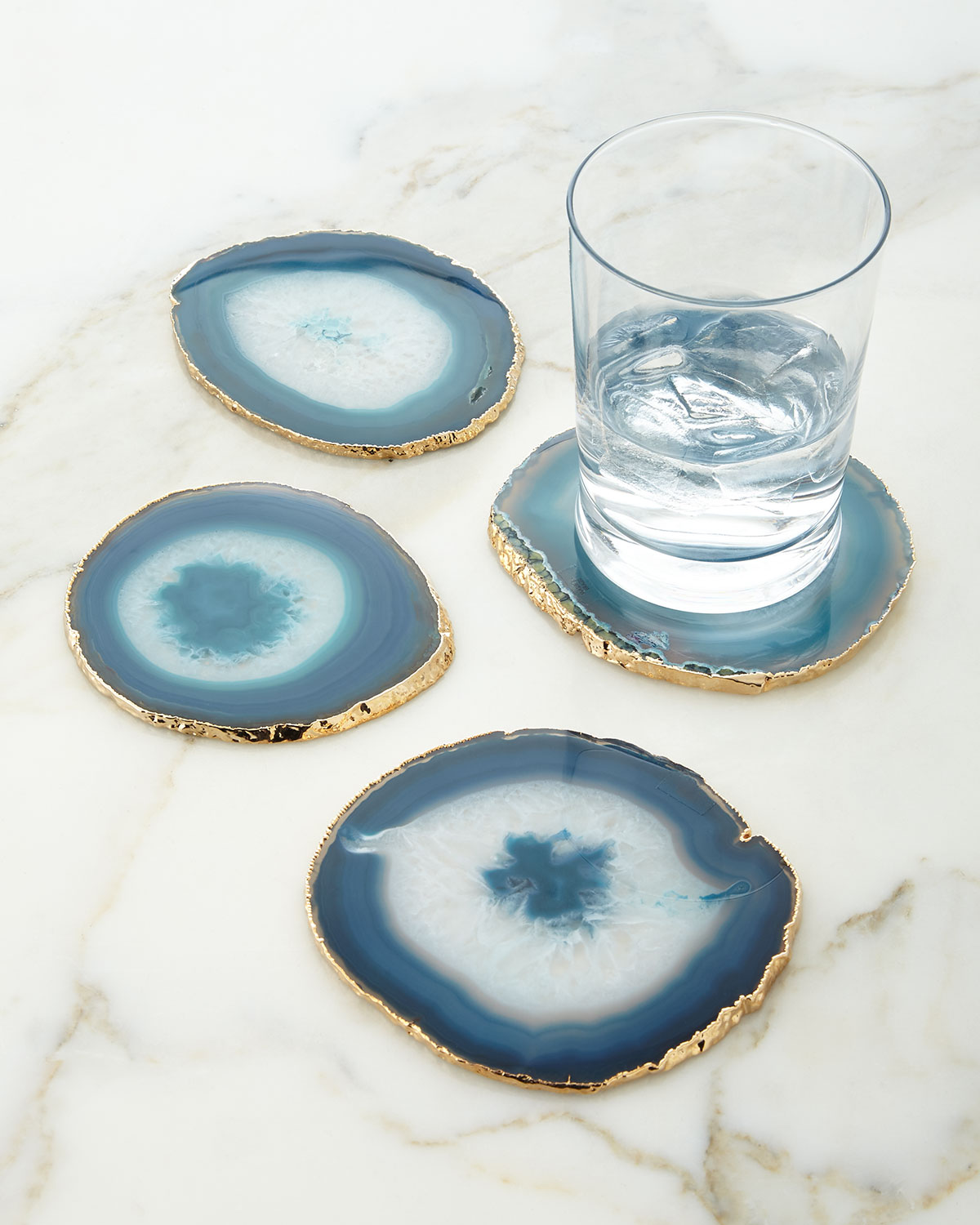 Blue Agate Coasters, Set of 4, by Aerin Lauder - Little Luxuries Gift Guide - Good Things in Small Packages