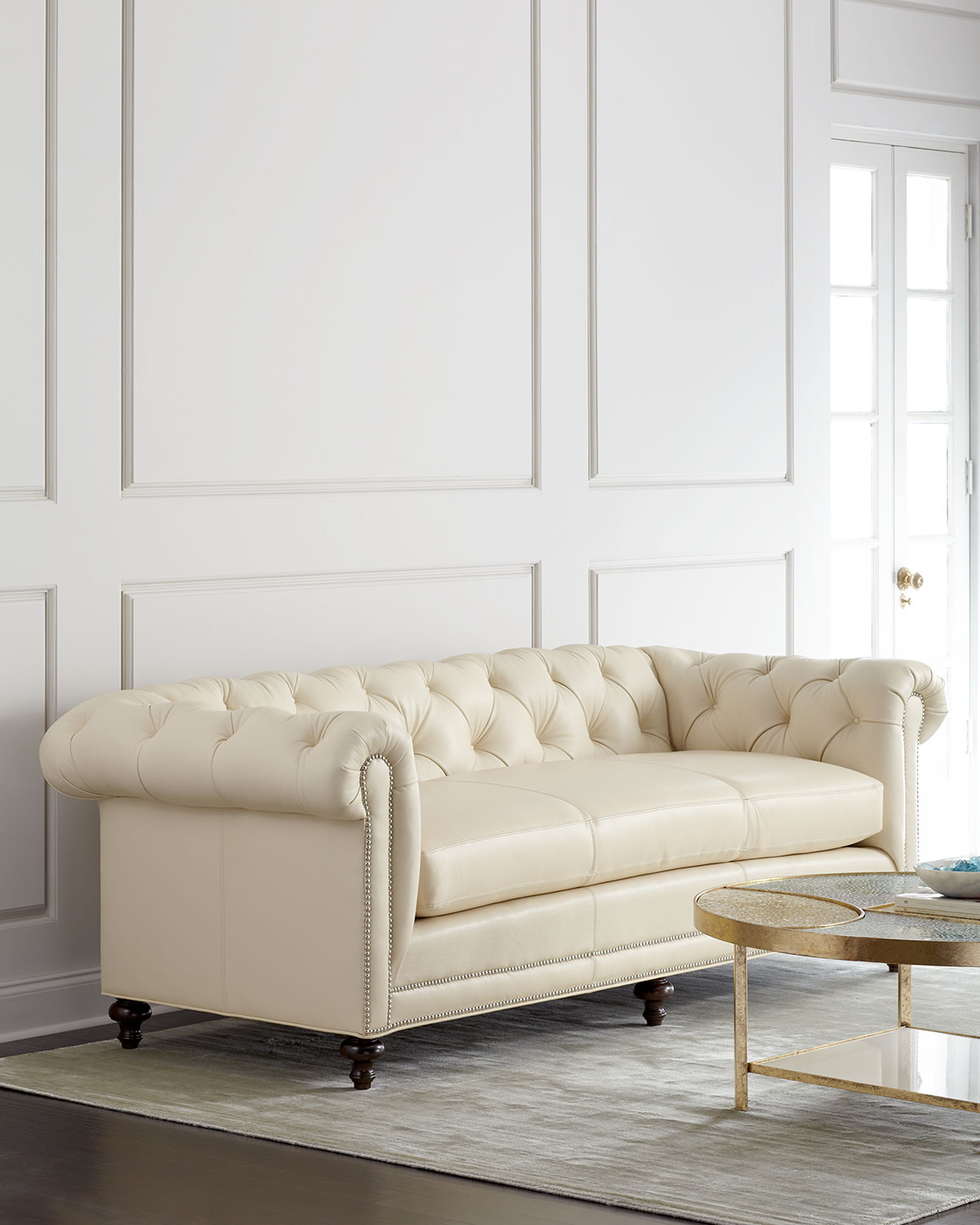 Bon Davidson Cream Tufted Chesterfield Sofa