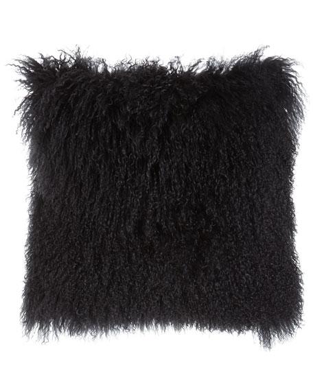 Dark Gray Tibetan Lamb Pillow