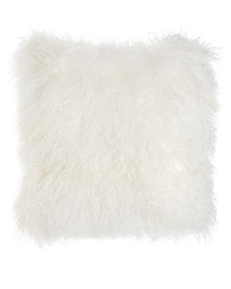 White Tibetan Lamb Pillow