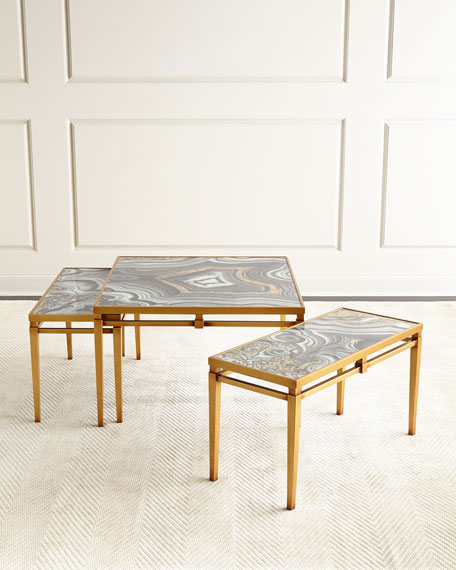 John-Richard Collection Nicola Painted-Agate Coffee Table