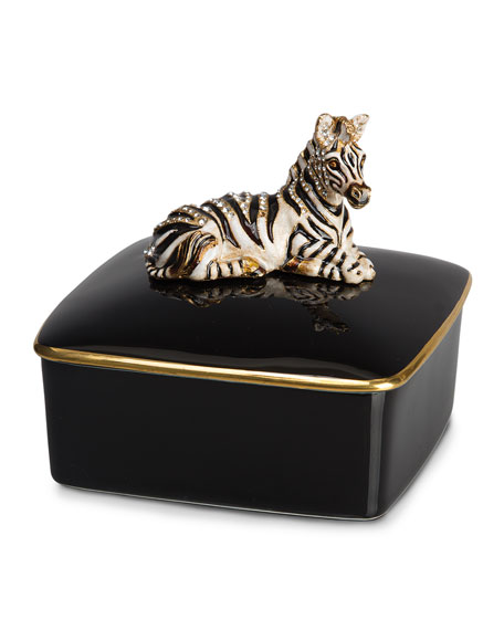 Jay Strongwater Zebra Porcelain Box