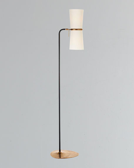 Clarkson Antiqued-Brass & Black Floor Lamp
