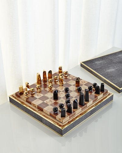 Chocolate Shagreen Chess Set