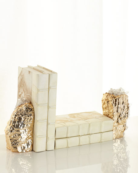Gilded Crystal Bookends