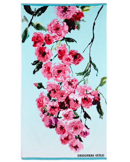 Designers Guild Falling Rose Fuchsia Beach Towel