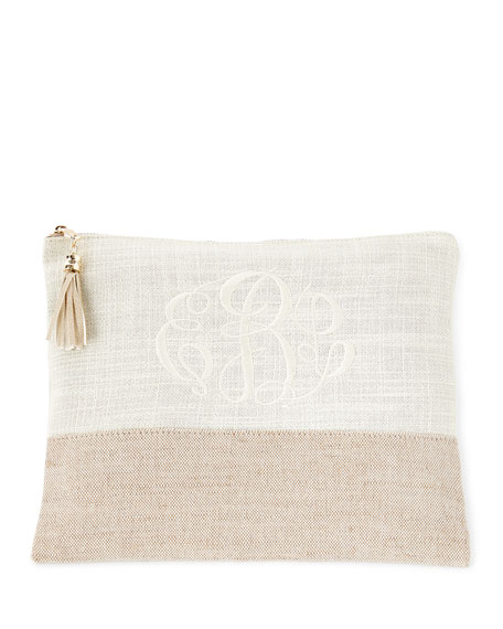 Bone Large Linen Pouch