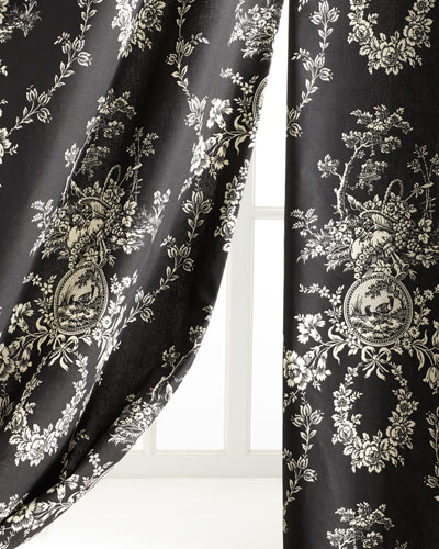 Black dress with gold pattern curtain