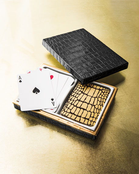 L'Objet Crocodile-Embossed Box with Playing Cards