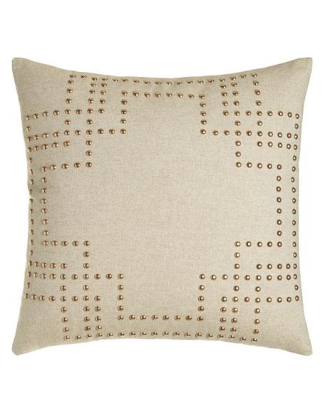 """Nailhead Pillow, 20""""Sq."""