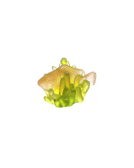 Green/Amber Small Fish in Anemone Sculpture