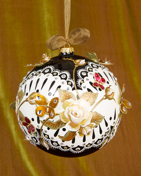 Jay strongwater rose artisan christmas ornament neiman