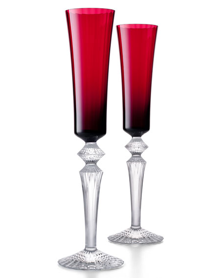 Baccarat Mille Nuits Red Flutissimos, Set of 2