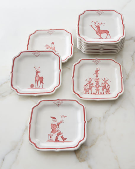 Juliska Country Estate Ruby Reindeer Games Party Plates,