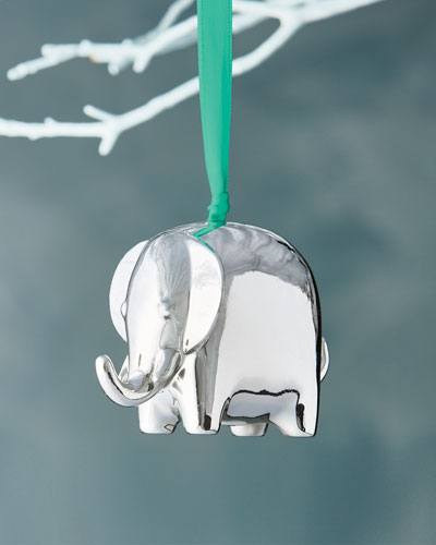 Silver Elephant Christmas Ornament