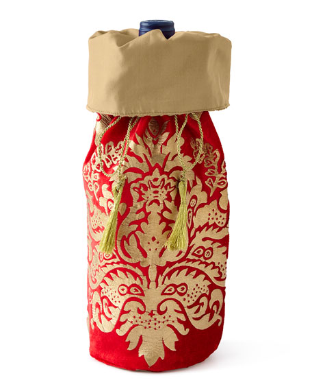 Divine Designs Crimson & Gold Khari-Print Wine Bag