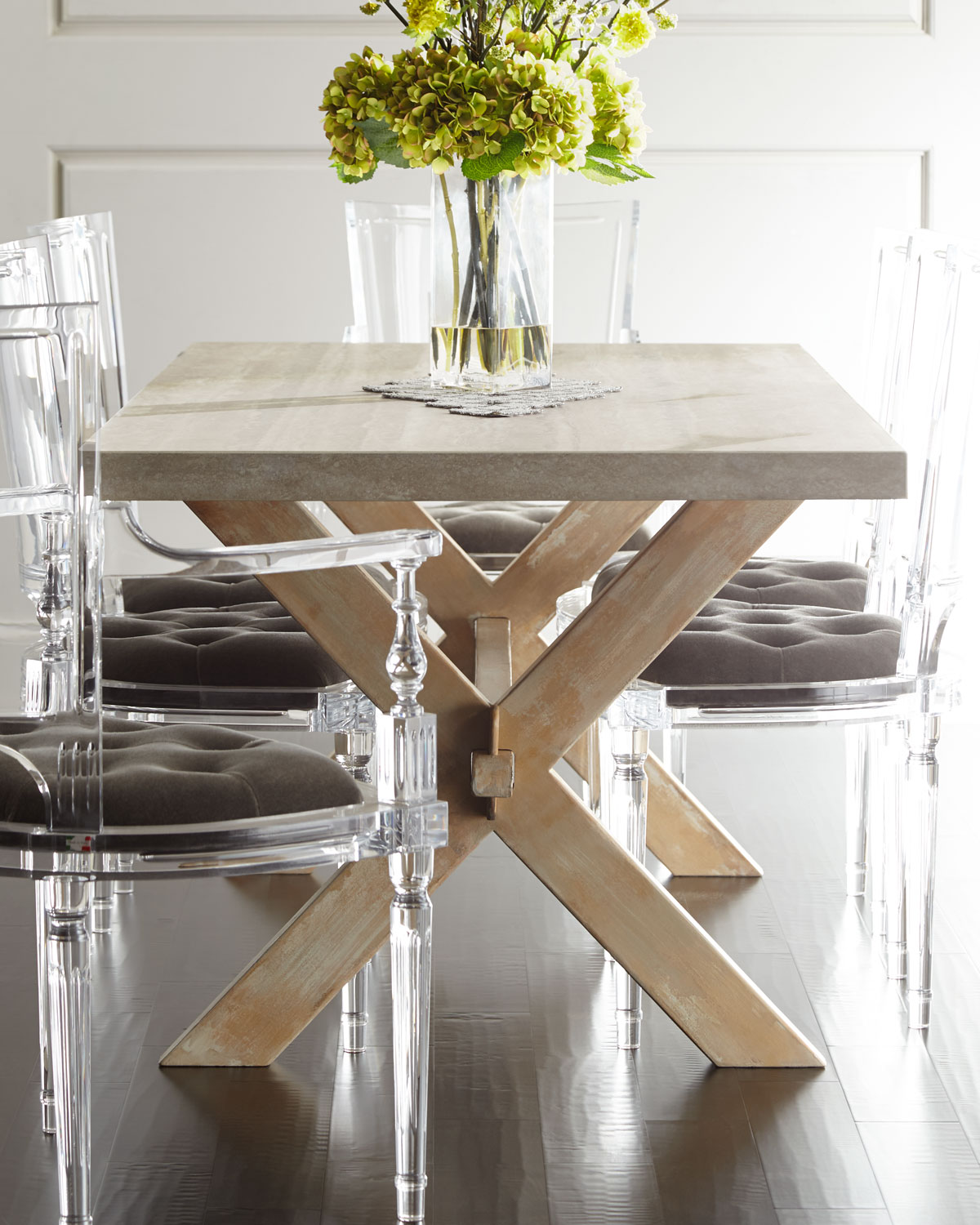 Bacca StoneTop Dining Table Neiman Marcus - Stone top rectangular dining table