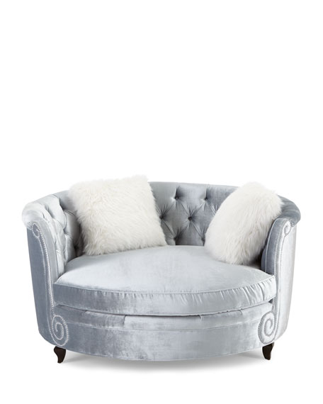 Image 2 of 2: Haute House Harper Tufted Cuddle Chair