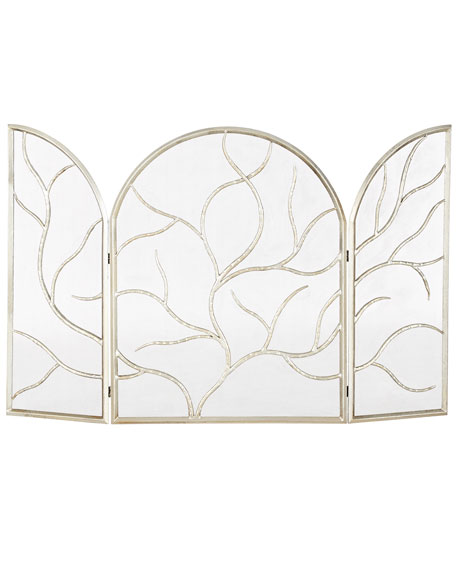Three-Panel Silver-Leaf Fireplace Screen