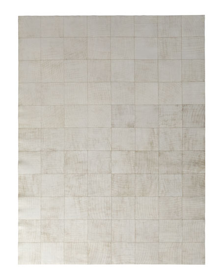 Dooley Ivory Leather Rug, 5' x 8'