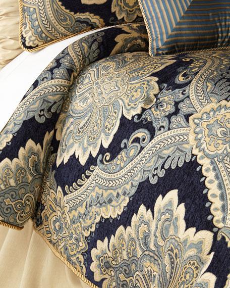 Raymond Waites Queen Navy Chenille 3-Piece Comforter Set