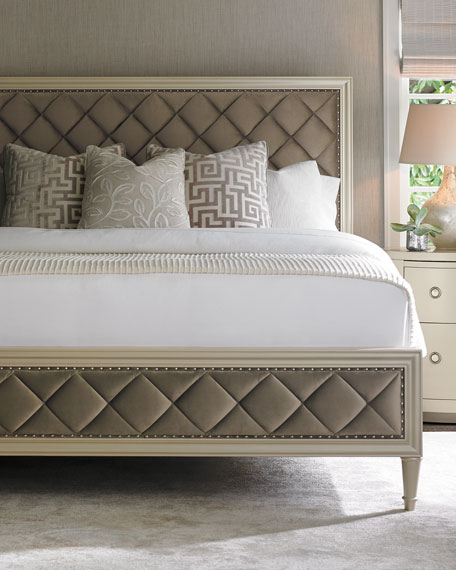 caracole Millet Diamond-Tufted King Bed