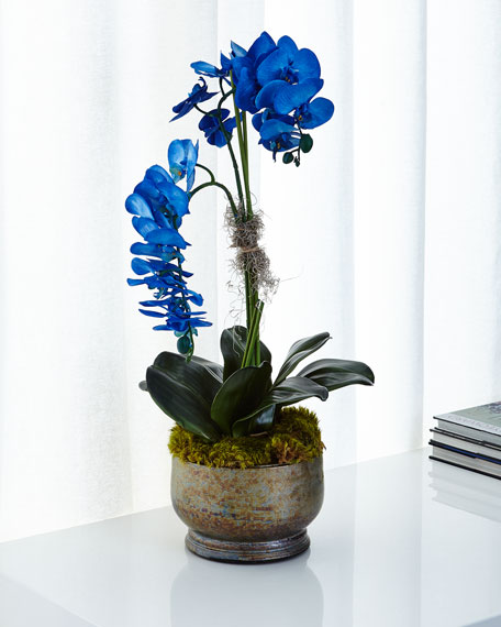 John-Richard Collection Majestic Blue Orchids Faux Floral