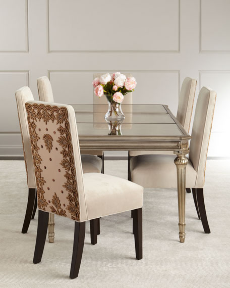 Roberta Antiqued-Mirrored Dining Table
