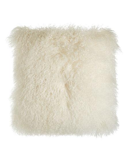 "Misti Thomas Modern Luxuries Chani Lei Parker Tibetan Lamb Pillow, 22""Sq."