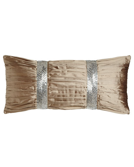 "Dian Austin Couture Home Gretta Ruched Silk Pillow, 12"" x 26"""