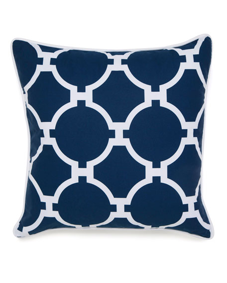 "Hampton Links Navy & White Print Pillow, 18""Sq."