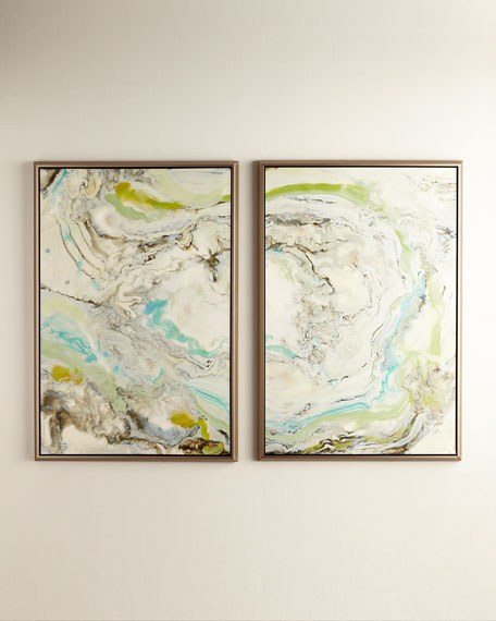 """Green Waves"" Giclees, 2-Piece Set"