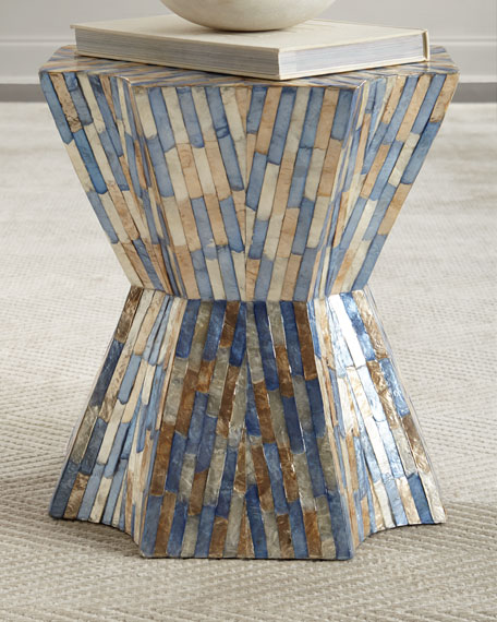 Blue Stripe Garden Stool