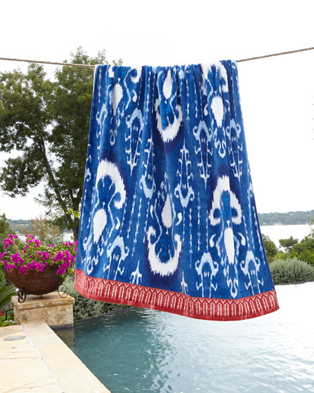 Image 1 of 2: John Robshaw Vaya Indigo Blue Beach Towel
