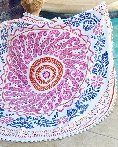 Round Cita Pink Beach Towel