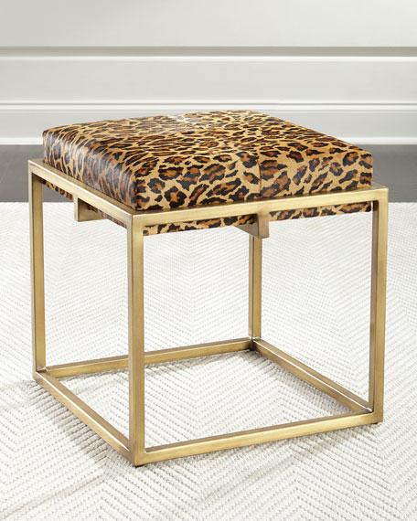 Ruth-Ellen Leopard Ottoman