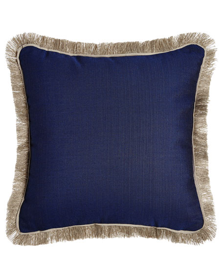 Fringed Navy Outdoor Pillow
