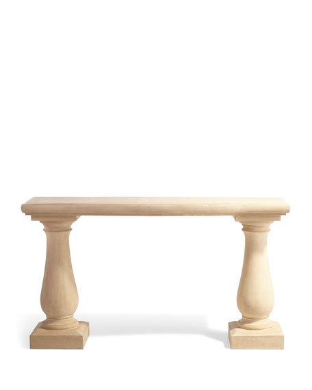 Image 3 of 3: Double Pedestal Outdoor Console Table