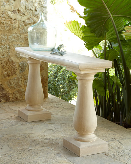 Image 1 of 3: Double Pedestal Outdoor Console Table