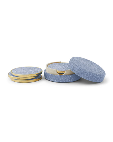 Embossed Faux-Shagreen Coaster Set