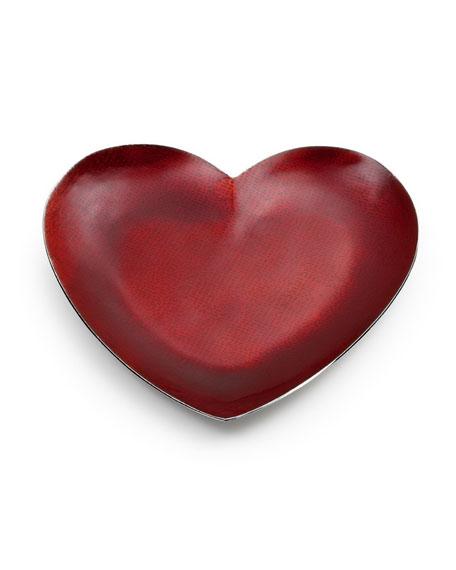 Symphony Scarlet Red Enamel Heart Dessert Tray