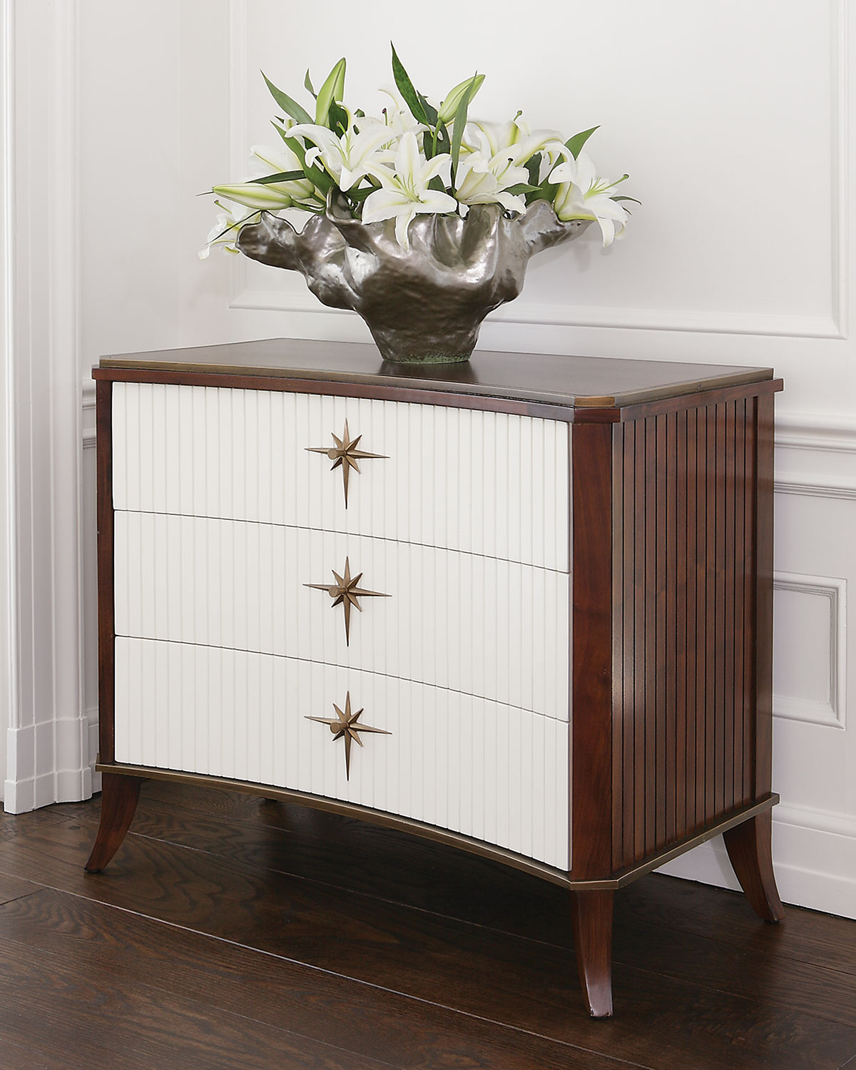 Global Views Quest 3-Drawer Walnut Cabinet